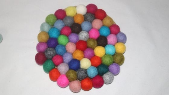 felt wool coasters made from felt pom poms