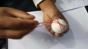 embroider felt balls with simple stitches