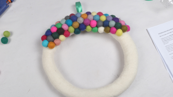 Partial felt ball wreath
