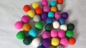 Homemade felt ball garland