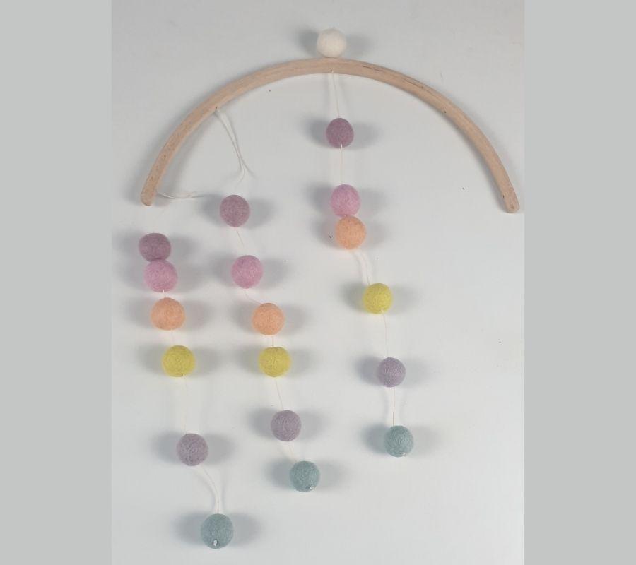 Felt ball wall hanging mobile