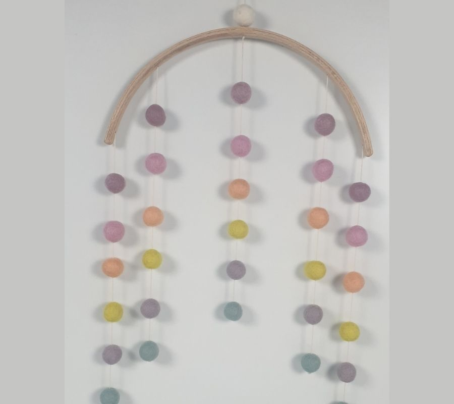 How to make felt balls wall hanging mobile