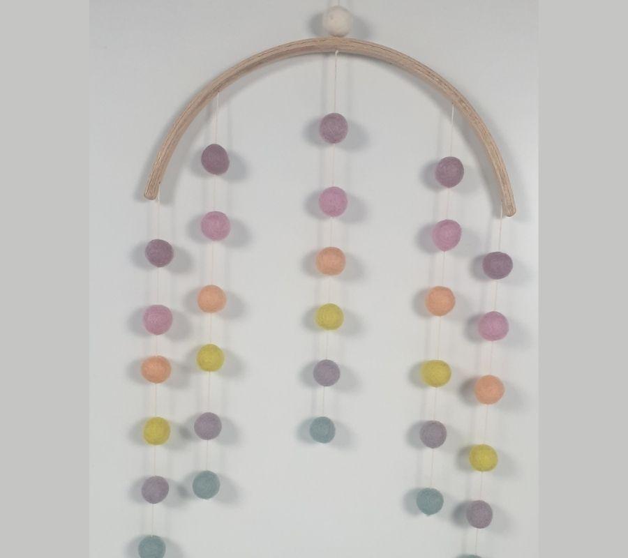 How to make felt balls wall hanging mobile