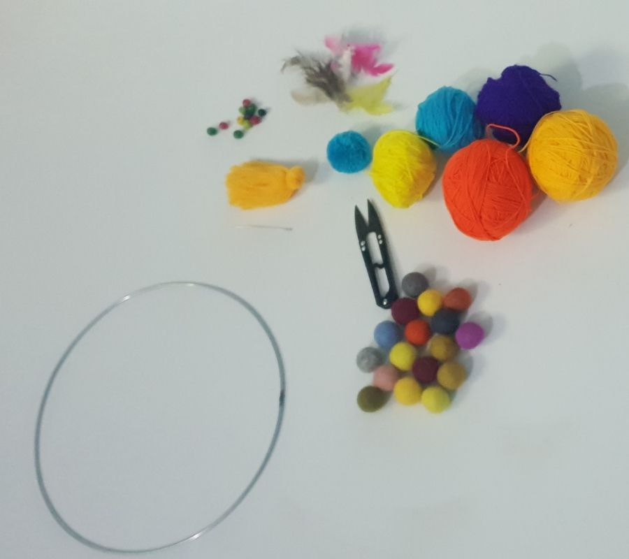 Raw material for making felt ball dream catcher