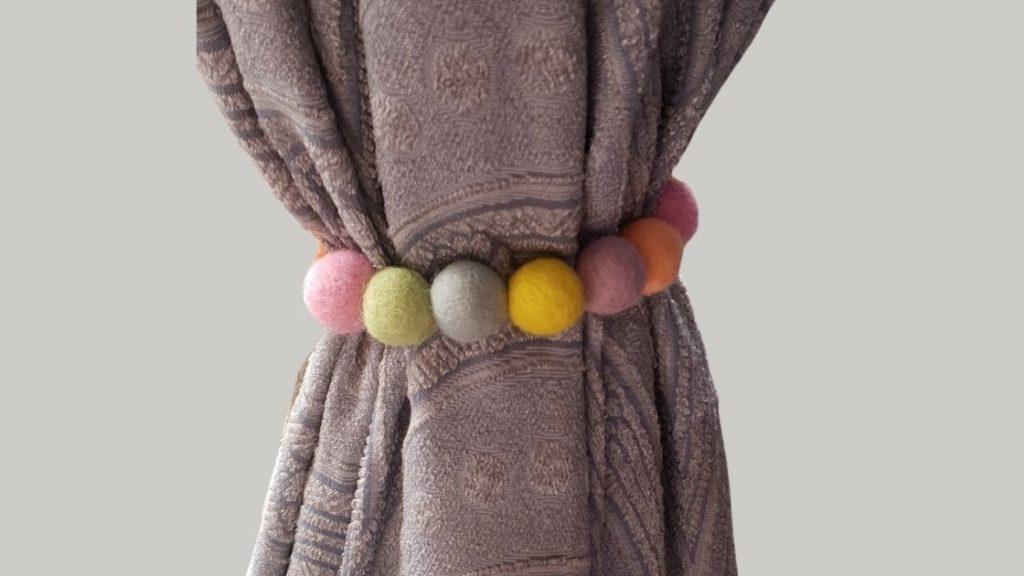 How to make felt ball curtain tie backs