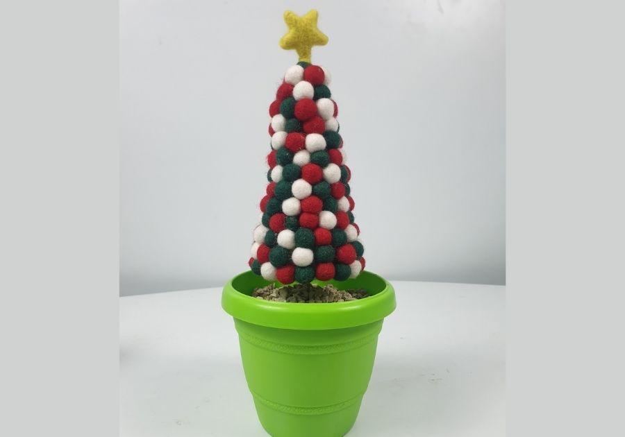 felt balls tree in a pot