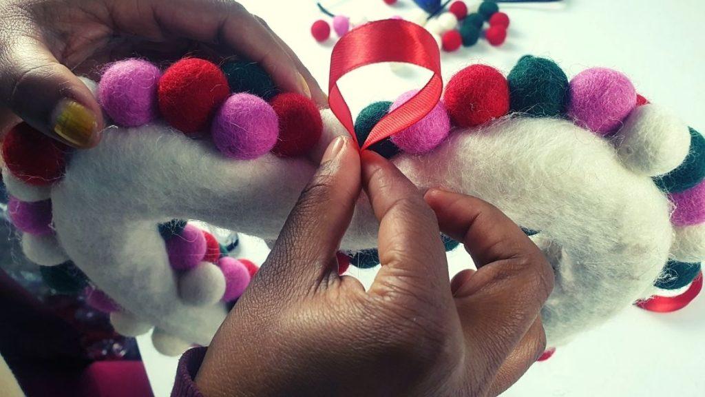 Felt balls heart wreath for Christmas and valentine